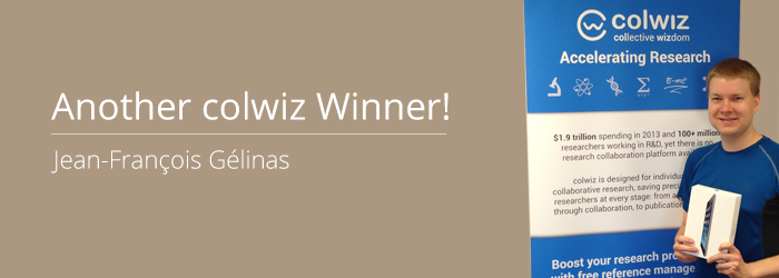 Our second iPad winner, Jean-François Gélinas, takes his research mobile with colwiz